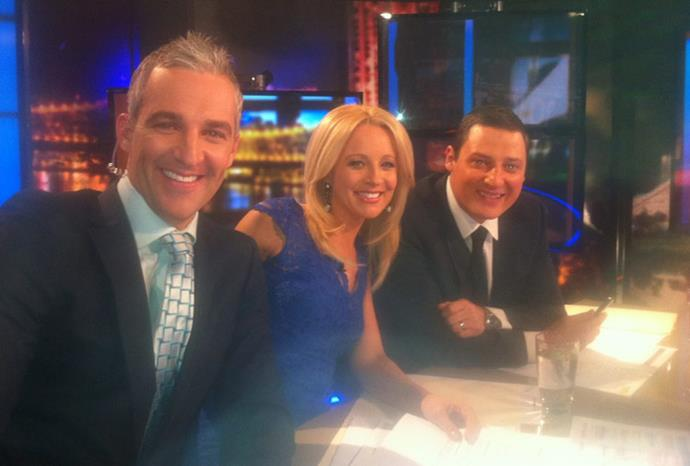 Carrie alongside her co-hosts in beautiful blue lace.