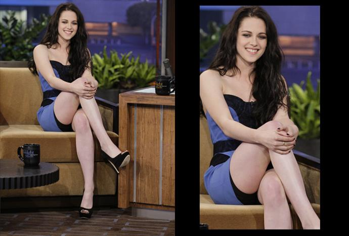 Kristen Stewart showed a little too much skin and her spanx on the Jay Leno show.