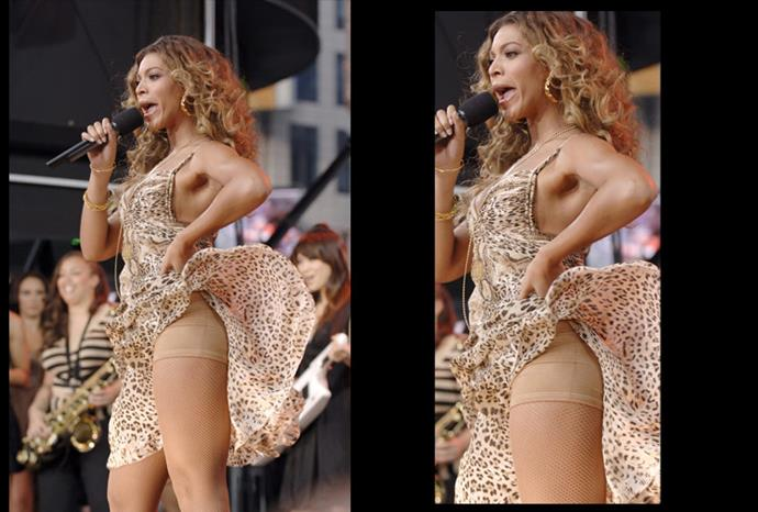 The wind blew up Beyonce's dress durning a live performance to reveal her spanx.