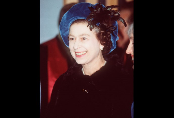 In 1981 the Queen rugged up in a mink coat and a beret style hat.