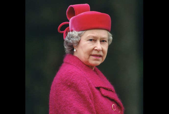 In a simple styled coat, the Queen's hat is the stand out piece of her outfit.