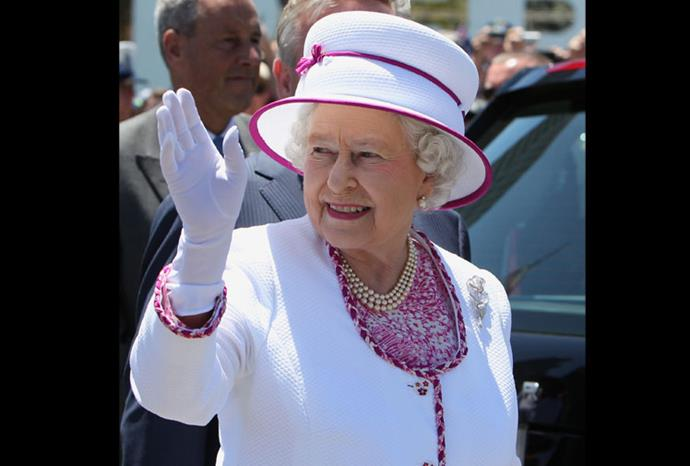 On her most recent trip to Australia the Queen wore this matching hat and dress.