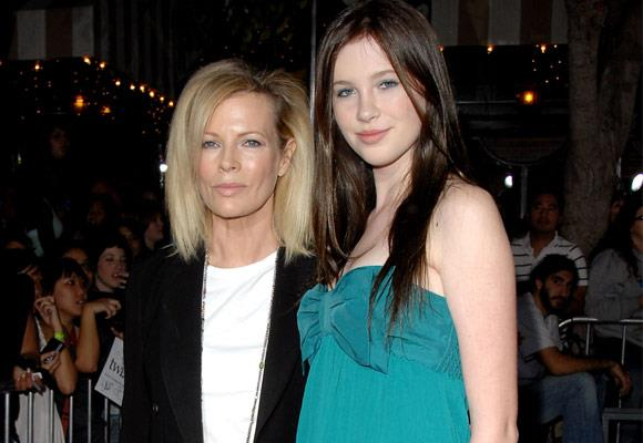 Kim Basinger and daughter Ireland share similar facial features and model looks.