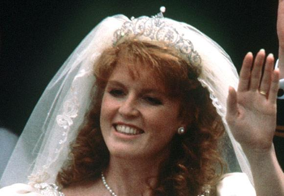 Sarah Ferguson wore a wreath of flowers during the wedding ceremony.  It wasn't until she was officially the Duchess of York that she revealed the diamond tiara underneath the wreath, which was chosen by Sarah and purchased for her by the Queen.
