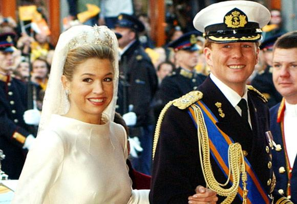 Her diamond star tiara was made especially for the royal wedding in 2002 and was made up of a base taken from a tiara owned by Queen Emma and the stars from one owned by Emma's daughter, Queen Wilhelmina.