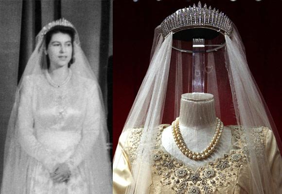 "Queen Elizabeth II's ""something borrowed"" was her mother's a diamond fringe tiara, which had been passed down by her grandmother."