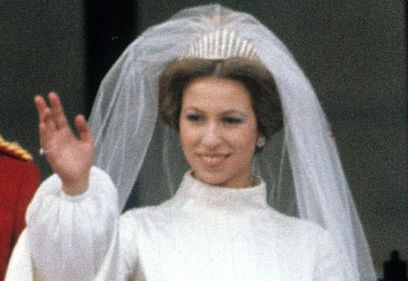 Queen Elizabeth leant her granddaughter Princess Anne her fringe tiara, which has been passed down by the royal family, for her wedding day in 1973.