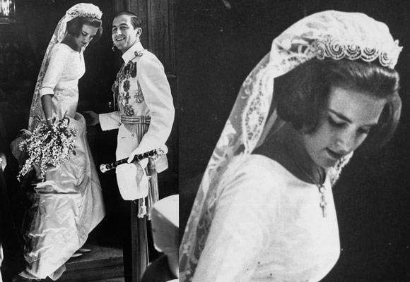 Princess Anne-Marie of Denmark married HM King Constantine II of Greece, making her the Queen of Greece in 1964. Her incredibly simple wedding gown was detailed beautifully with a simple silk waistband, mid-length sleeves and flowing train.  Her tiara is the Khedive of Egypt Cartier tiara, which was inherited by Queen Ingrid of Denmark and is worn by Denmark's female descendants on their wedding days.