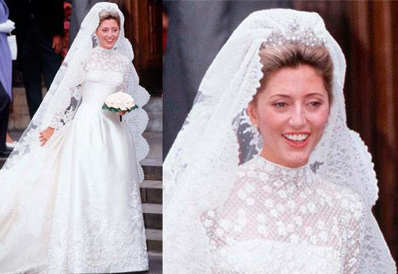 Princess Marie-Chantal's Valentino 1995 wedding gown was put together by 25 seamstresses at a cost of $225,000. Her gown was made of ivory silk and featured a lace bodice with opaque beading, accented with rose appliqués and sleeves decorated with floral motifs.   The veil itself took two months to create alone and was finished with a tiara borrowed from her mother-in-law, Queen Anne-Marie.