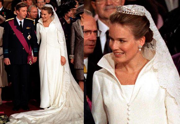 Designed by Edouard Vermeulen, Princess Mathilde's 1999 wedding gown has been acknowledged as one of the most stylish of recent royal weddings. The sophisticated gown is a tailored coat-style, which buttons down the front and has a high and open collar.  Her glittering diamond vintage tiara was borrowed from her mother-in-law, Queen Paola.    **[Are you a Kate Middleton lookalike? Send us your photos!](http://womansday.ninemsn.com.au/feedback.aspx?formid=6670496&sectionid=75258&sectionname=celebrity&subsectionid=7800924&subsectionname=royalwedding)**