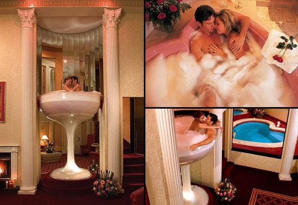The humble bubble bath goes to a whole new level at this lovers' retreat, with couples able to relax in an oversized martini glass bath! If you don't fancy the climb up the spiral staircase there's always the love heart-shaped pool instead; plus a fireplace and star-encrusted ceiling for added romance. *Images: Poconos Palace Hotel*