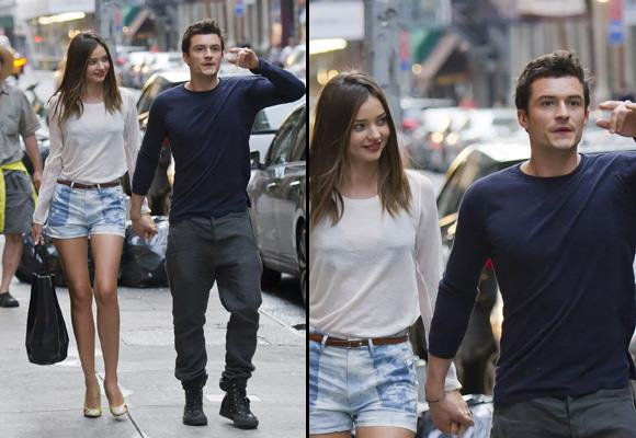 This jet-setting couple often mix work and pleasure, and it's not unusual to see them getting cozy on the red carpet together. Here they are spotted having a rare moment of down-time, as they stroll hand in hand through New York. *Images: Snapper Media*