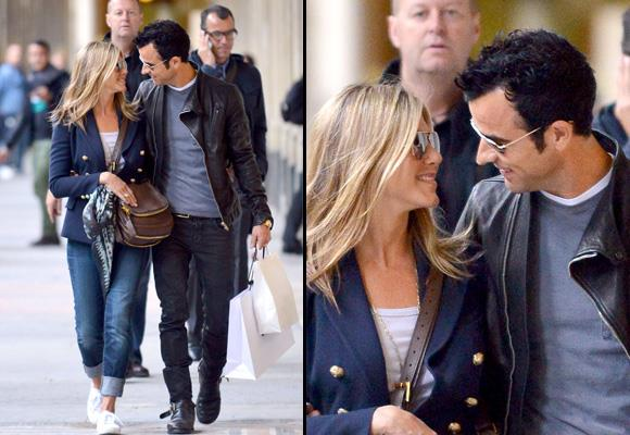 Enjoying a spot of window shopping in Paris, it seems Jen and Justin only have eyes for each other as they stroll the streets of the City of Love — perfect for a couple who recently got engaged. Jen's planning a beach wedding in Hawaii or Mexico. *Image: Snapper Media*