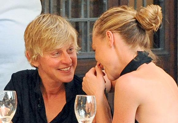 Once fiercely private about her love life and sexual orientation, Geelong-born actress Portia de Rossi is caught giggling like a schoolgirl with her wife, talkshow host Ellen DeGeneres during dinner in Rome. *Images: Snapper Media*