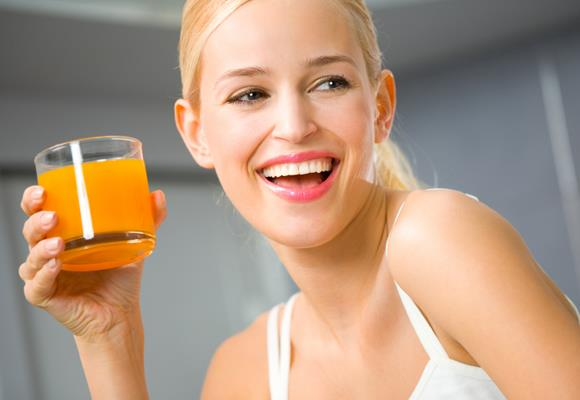 """Fruit juices have loads of vitamins and nutrients. But be careful, not all juices are created equal. There is difference between """"100 percent juice"""" and """"made with real juice"""". It's best to choose a fruit juice with lots of pulp, for added fibre that can help you feel fuller and eat less. With fresh squeezed, organic juice, you can be sure that you're getting the best possible option."""