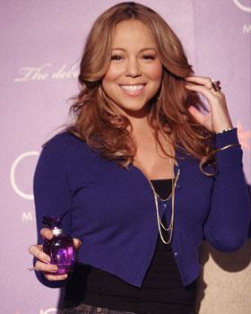 "Mariah launches her new perfume ""M for Mariah"" in California."