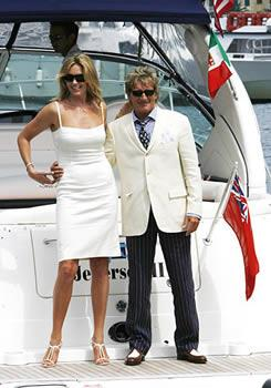 **Rod Stewart** and **Penny Lancaster** tied the knot in an intimate ceremony in Portofino, Italy. Following a private ceremony, the couple spent the afternoon sunbathing on a yacht with their 18-month-old son Alistair, before joining friends and family for an evening wedding reception.
