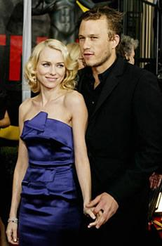 Working on *Ned Kelly* saw Heath meet and fall for co-star Naomi Watts.