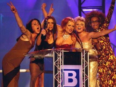 The Spice Girls won the Best Video and Best Single categories at the Brit Awards in 1997 — (L to R) Melanie Chisholm, Victoria Adams (later Beckham), Geri Halliwell, Emma Bunton and Melanie Brown.