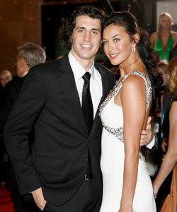 Megan and her funnyman boyfriend Andy Lee arrive at Melbourne's Crown Casino for the Logies.