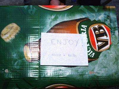 The couple showed off their sense of humour, providing a slab of beer for the photographers parked outside Nicole's 39th birthday bash. With Keith's past drug and alcohol addiction issues, perhaps they're demonstrating a sense of irony too.