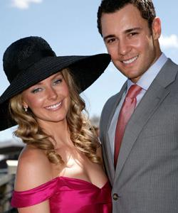 Jennifer Hawkins and Jake Wall pose together in the Emirates Marquee at the 2007 Melbourne Cup.