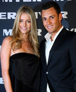 Jake Wall and Jennifer Hawkins arrive for the Myer Winter 2008 Collection Launch.