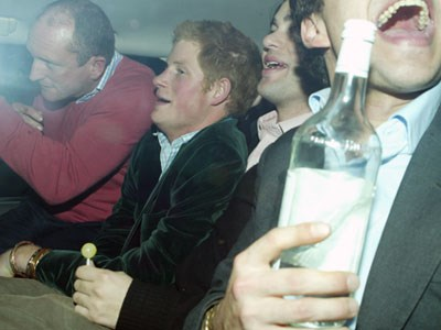 Prince Harry got into a slittle strife when he was photographed drunk in the backseat of a car with his friends.