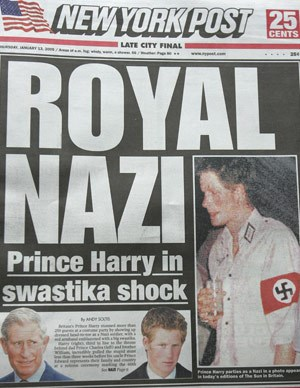 Continuing his streak of scandal, in 2005 Harry turned up at a fancy-dress party as a Nazi — for which he has since apologised.