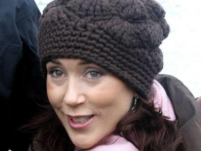 Mary rugs up in a fashionable beanie during the chilly Danish winter.