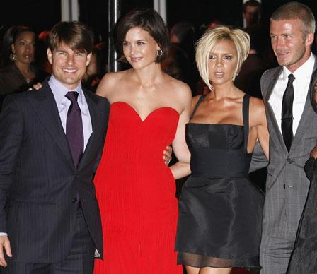 Tom and Katie remain good friends with David and Victoria Beckham, despite rumours of a feud between the women.