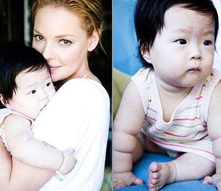 Actress Katherine Heigl and her musician husband Josh Kelley this week adopted a 10-month-old Korean girl named Nancy Leigh (after Heigl's mother and sister), but who will be known by the nickname Naleigh. Heigl's sister was also adopted from Korea.