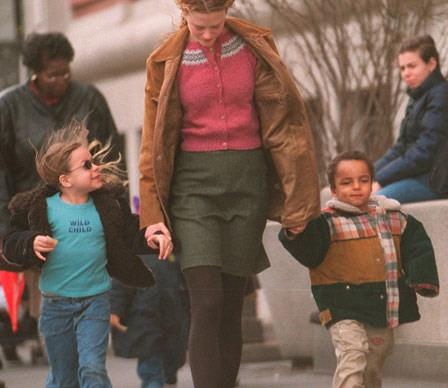 Isabella, 8, and her 5-year-old brother Conner hold mum Nicole Kidman's hand on a windy day out in New York.