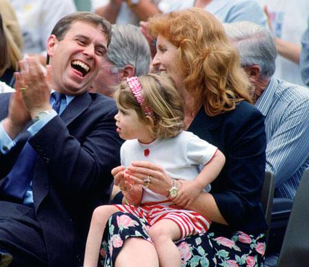 Fergie and husband Prince Andrew appear to be getting along famously at a school sports day.