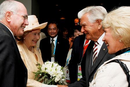 Bob Hawke welcomed Queen Elizabeth II to Australia alongside his wife Blanche and John Howard at the Opening Ceremony for the Melbourne 2006 Commonwealth Games.