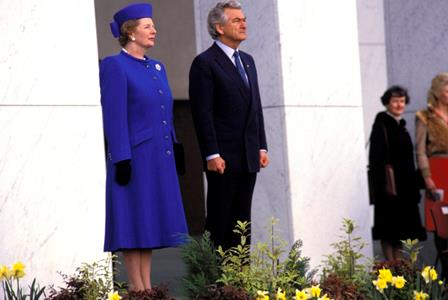 Bob Hawke with Margaret Thatcher at the Australian War Memorial in 1988.