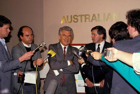 Bob Hawke faces the media scrum during his 1987 Labor Campaign. He held his postion from 1983 to 1991.