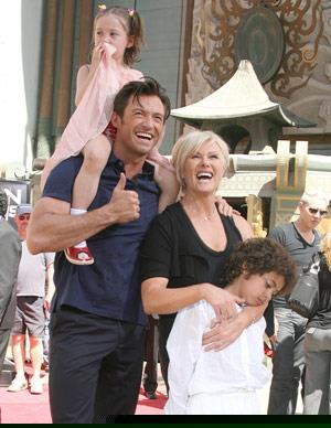 "Hugh and Deborra married in 1996 after Hugh personally designed an engagement ring for Deborra. It had the words Om paramar mainamar, which translated means ""we dedicate our union to a greater source"" transcripted on it. The pair have two adopted children nine-year-old Oscar Maximillian and five-year-old Ava Eliot."