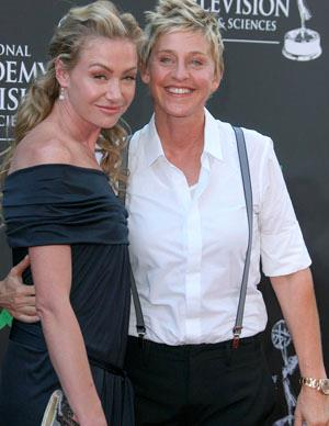 Aussie actress Portia de Rossi has been dating American talk show host Ellen DeGeneres since 2004. The overturn of the same-sex marriage ban in California, meant that the pair were able to announce their engagement in 2008 and Ellen sealed the deal by giving Portia a three-carat pink diamond ring. The loved-up pair were married on August 16, 2008 with just 19 guests present.