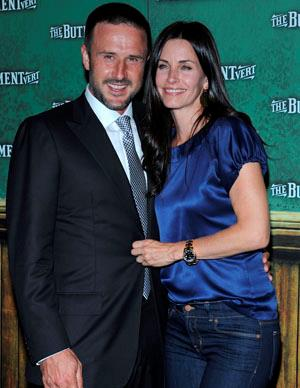 Courteney Cox and David Arquette met on the set of the movie *Scream* in which he played her love interest. The pair married in 1999 and have a daughter together, Coco Riley Arquette whose godmother is Courteney's best friend Jennifer Aniston.