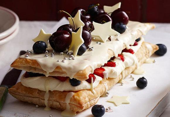 """**White chocolate mille feuille** <br><br> A true Christmas delight. <br><br> [**Read the full recipe here**](https://www.womensweeklyfood.com.au/recipes/white-chocolate-mille-feuille-18083