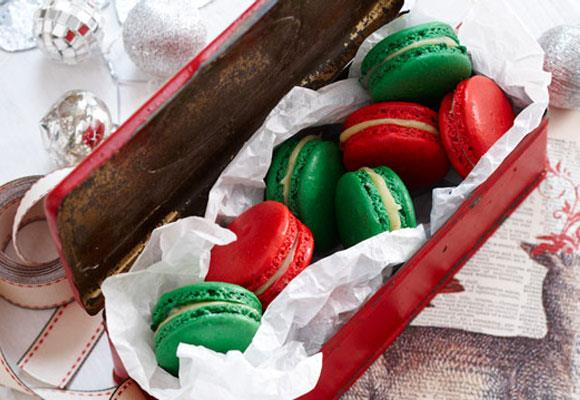 """**White chocolate and cinnamon macarons** <br><br> A sweet Christmas delight! <br><br> [**Read the full recipe here**](https://www.womensweeklyfood.com.au/recipes/white-chocolate-and-cinnamon-macarons-16696