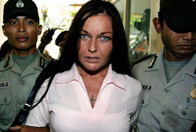 Schapelle being excorted by Indonesian police before her trial in Denpasar, Bali.