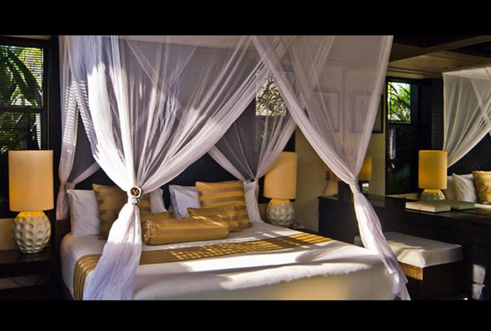 The bedroom in one of the exclusive villas.