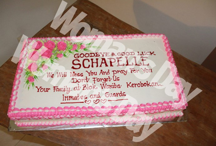 Schapelle's farewell cake.