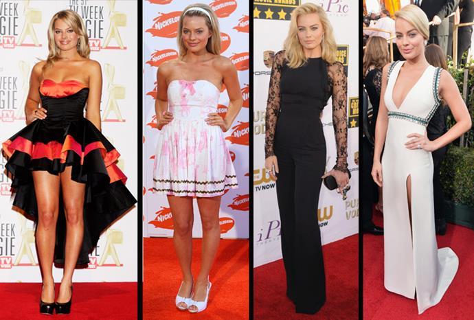 The style evolution of Margot Robbie.