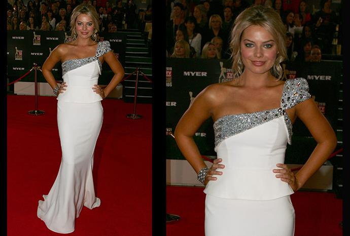 This time around at the Logies she plays it safe with a one-shoulder white gown.