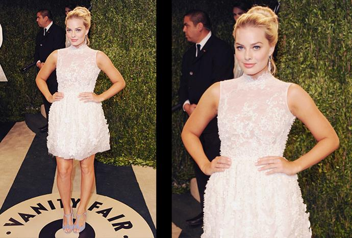 Attending the Vanity Fair Oscar Party in West Hollywood, California.