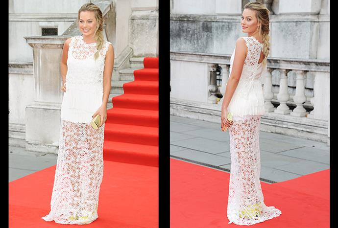 Margot turns heads in a floor-length lace gown at the World Premiere of 'About Time'.