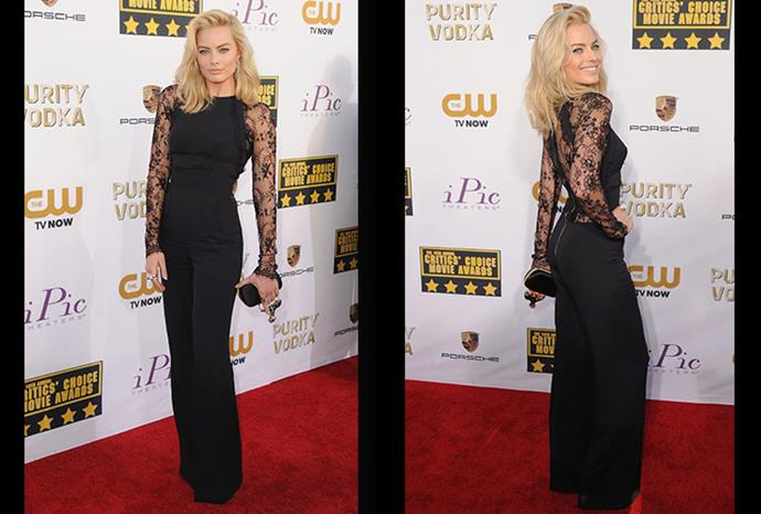 Black - lace - jumpsuit! It's the outfit of the new Hollywood seductress.